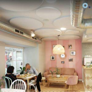 paneles acusticos circulares ruido restaurante